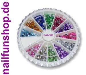1500+ Strasssteine in 12 schönen Farben mit flacher Rückseite Ø 1,5 - 2mm