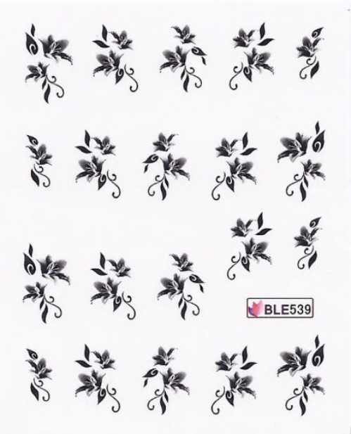 1 Bogen One Stroke Sticker BLE-539 (20 Stück) Nailsticker Nagelsticker Nailtatoo