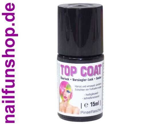 NAILFUN TOP-COAT 15ml Finish Versiegler Überlack in der Pinselflasche