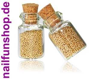 2 Fläschchen Nailart Micro-Perlen Mini-Perlen in gold - NEU