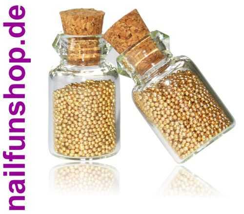 NAILFUN 2 Fläschchen Microperlen gold Mini-Perlen