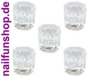 NAILFUN 5x Dappenglas - Dappen Dish Glas für Acrylpulver, Liquid etc.