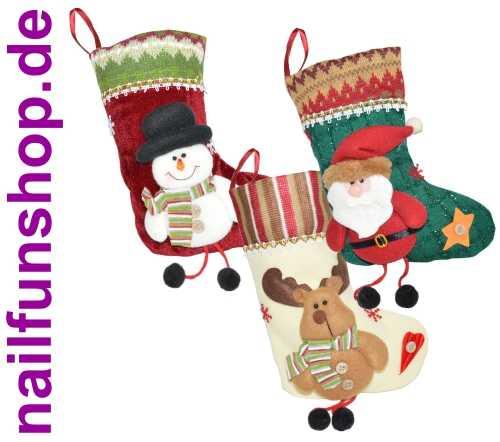 3er Set Weihnachtssocke - Nikolausstiefel - Geschenkbeutel