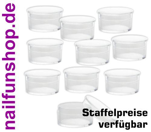 10 x Rocaillesdöschen transparent klar (PS) mit Schaumstoffeinlage