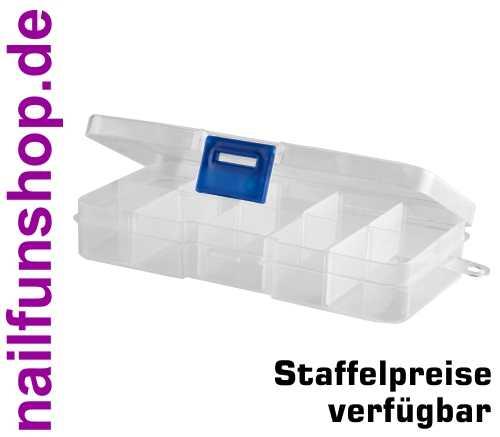 Sortierbox transparent (leer) 10 Fächer mit Klappdeckel und Schnellverschluss