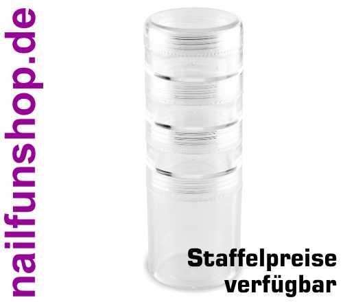 Nailartdöschen Stack-Box (leer) transparent + schraubbar + stabil