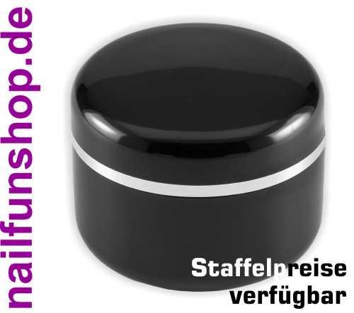 15ml Geltiegel schwarz - Leerdose - Cremedose mit Silberrand und Abdichtscheibe