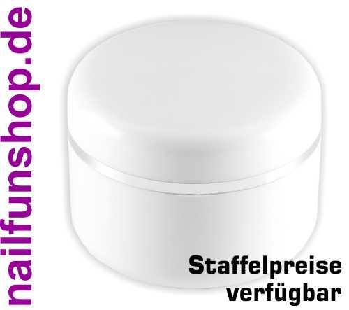 15ml Geltiegel weiss - Leerdose - Cremedose mit Silberrand und Abdichtscheibe