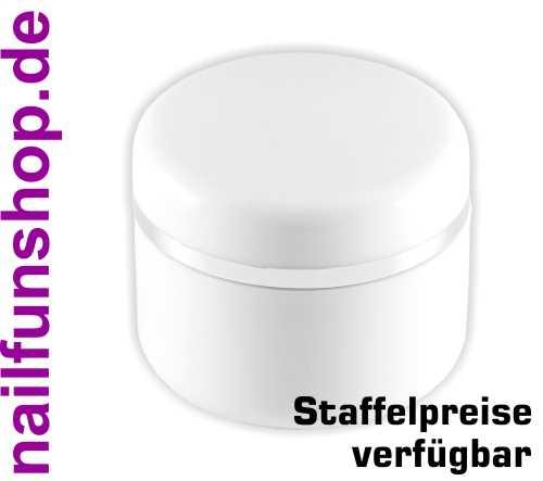 5ml Geltiegel weiss - Leerdose - Cremedose mit Silberrand und Abdichtscheibe