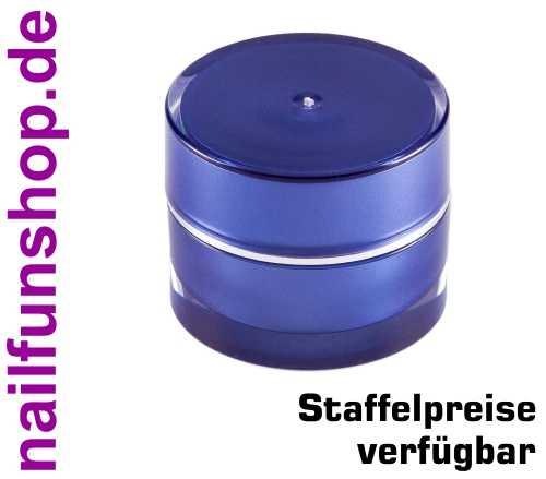 5ml Leertiegel PARIS - blau mit Silberrand - doppelwandig, hochwertig