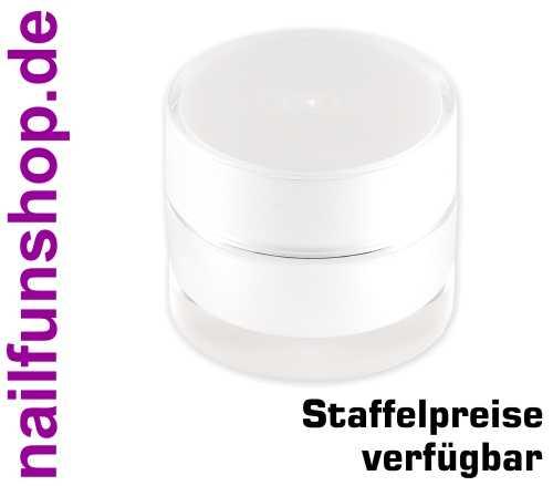 5ml Leertiegel PARIS - perlmutt-weiss mit Silberrand - doppelwandig, hochwertig