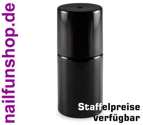 Nagellackflasche leer 15ml schwarz (NF-12) mit Deckel schwarz und Pinsel