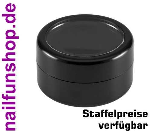 Nailart Döschen 10ml schwarz mit Sichtfenster und Schraubverschluss - Leerdose