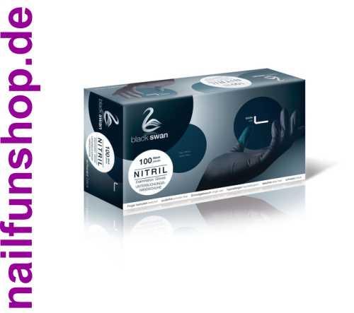 100 Stück Nitril Handschuhe schwarz Gr. L Black Swan latexfrei puderfrei in Box