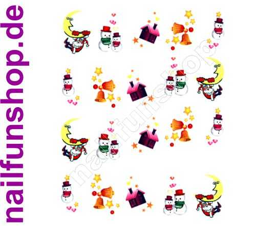 NAILFUN 1 Bogen One Stroke Sticker BLE112 Nailsticker Weihnachten Christmas Nail-Tattoo