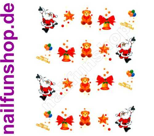 NAILFUN 1 Bogen One Stroke Sticker BLE129 Nailsticker Weihnachten Christmas Nail-Tattoo