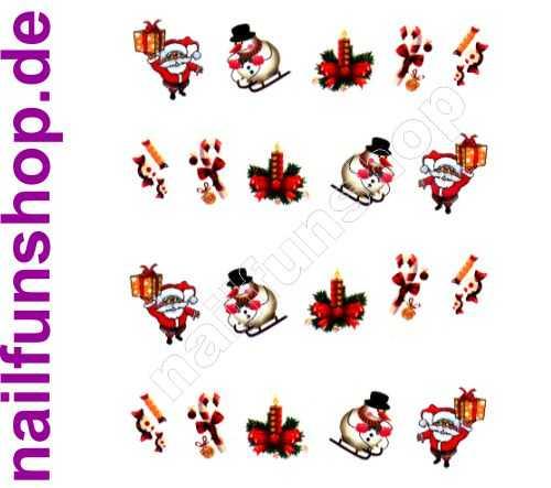 NAILFUN 1 Bogen One Stroke Sticker BLE1585 Nailsticker Weihnachten Christmas Nail-Tattoo