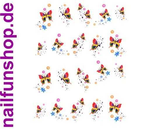 1 Bogen One Stroke Sticker BLE329 (20 Stück) Nailsticker Butterfly Nail-Tattoo