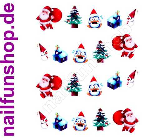 NAILFUN 1 Bogen One Stroke Sticker BLE911 Nailsticker Weihnachten Christmas Nail-Tattoo