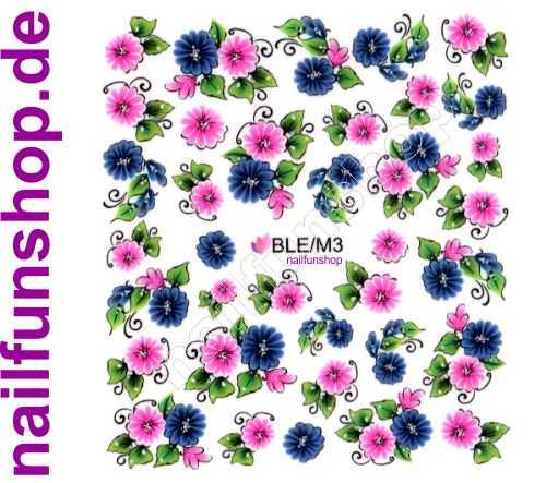 NAILFUN Bogen One Stroke Sticker BLE-3 Blumen pink rosa blau mit Blätter grün