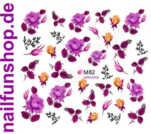 NAILFUN Bogen One Stroke Sticker BLE-82 Blumen pink purple lila gold Rosen Blätter