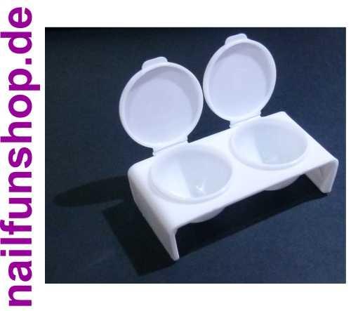 Doppel Dappen Dish, weiß für Acryl und Gel Dappenglas mit Deckel - Dappen Dish Glas für Acrylpulver, Liquid, Pinselreiniger usw.