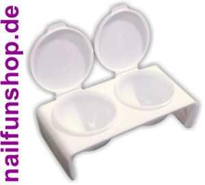 Doppel Dappen Dish Kunststoff-Behälter weiss mit Deckel