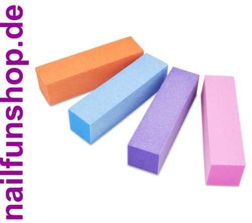 4er-Set Buffer / Schleifblock in den Farben Himmelblau, Pfirsich, Lila und Rosa