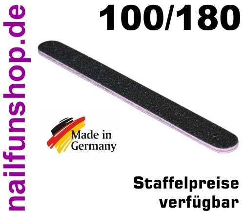 Profifeile Nagelfeile gerade schwarz - Körnung 100/180 - Kern pink/rot