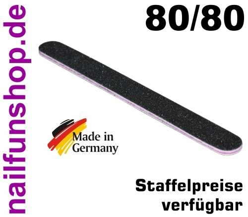Profifeile Nagelfeile gerade schwarz Körnung 80/80 - Kern pink/rot