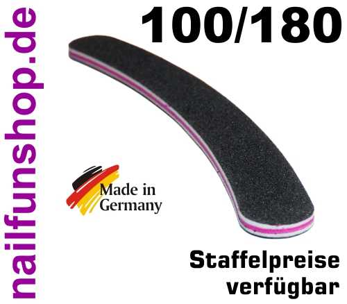 Profifeile schwarz gebogen Bananenfeile Körnung 100/180 - Kernfarbe pink/rot