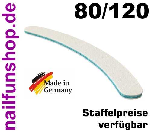 Profifeile Nagelfeile gebogen weiss Körnung 80/120 - Kern türkis - Bananenform