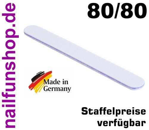 Profifeile Nagelfeile gerade weiss - Körnung 80/80 - Kern: lila