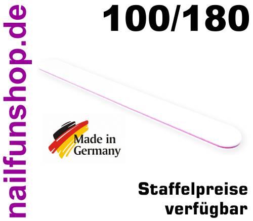 Profifeile Nagelfeile gerade weiss Körnung 100/180 - Kern pink/rot