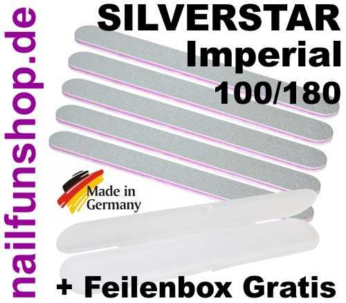 5x Profi Nagelfeile Silverstar Imperial - Körnung 100/180 + GRATIS Feilenbox