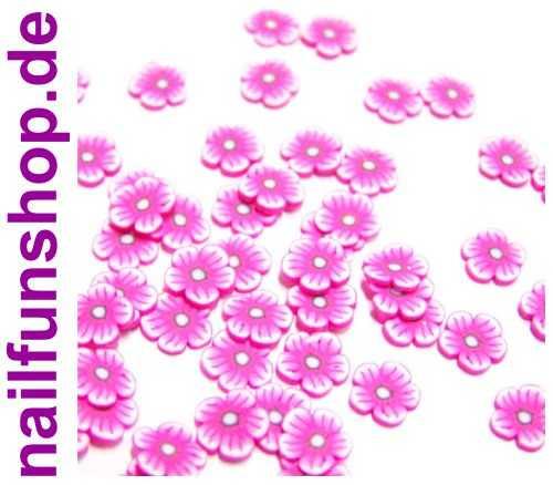 NAILFUN 20 Fimo Scheiben Blumen # 8 (FM-B8) -  Blumen Blüten Pink Rosa Rose weiss Flieder Fimo-Scheiben Fimoscheiben Fimo Einleger Shapes Nailart