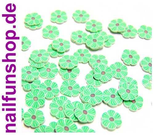 NAILFUN 20 Fimo Scheiben Blumen # 9 (FM-B9) -  Blumen Blüten hellgrün grün braun weiss Flieder Fimo-Scheiben Fimoscheiben Fimo Einleger Shapes Nailart