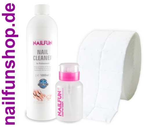 1 Liter Nail Cleaner = 1000ml + 500 Zelletten + 1x Pumpflasche (leer)