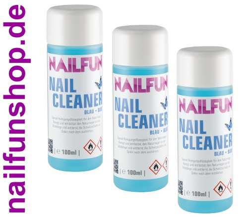 Nailcleaner 3er Pack blau (je 100 ml) im Spar-Set - Cleaner für Nagelmodellage