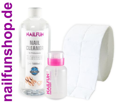 1 Liter Nail Cleaner = 1000ml + 500 Zelletten + 1x Pumpflasche (leer)