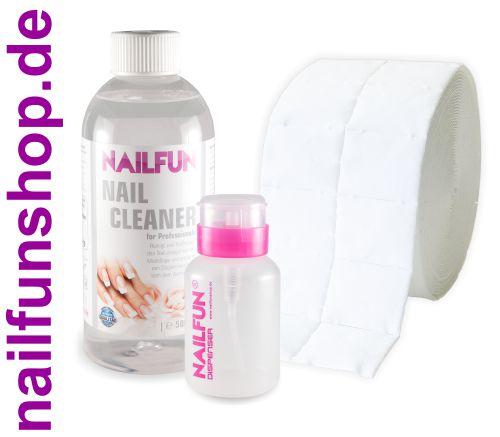 SET - 500ml Nailcleaner 99,9% kosmetisch rein + 500 Zelletten + 1 Pumpflasche