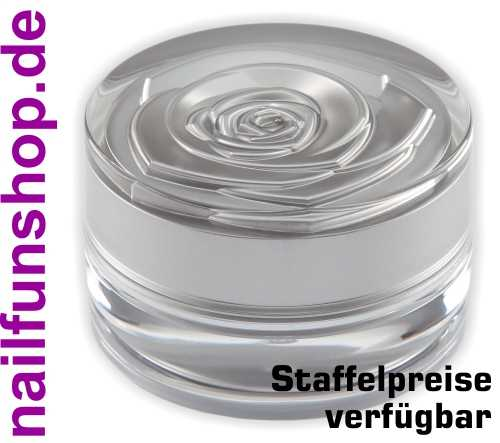 15ml Designer Geltiegel (leer) silber-transparent mit Rosenmuster