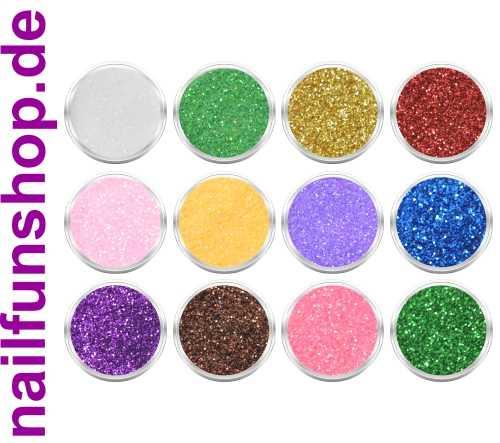12 Döschen Nailart Glitzerpuder [SET 3] Glimmer Glitter Glitterstaub div. Farben