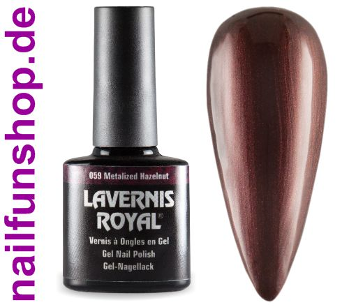 LAVERNIS ROYAL 3in1 Gel Nagellack - 059 Metalized Hazelnut