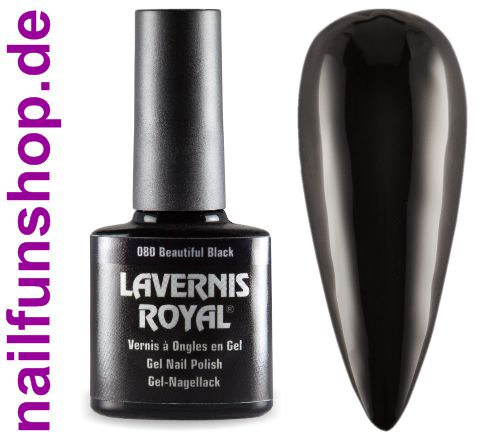 LAVERNIS ROYAL 3in1 Gel Nagellack - 080 Beautiful Black