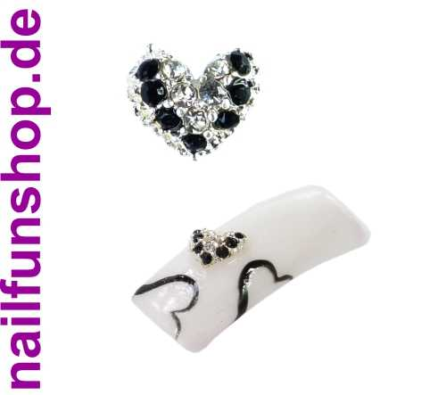 Nageldeko Metall No. 13 - Herz mit silbernen und schwarzen Strasssteinen