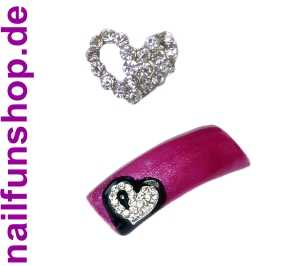 Nageldeko Metall No. 17 - Herz mit vielen kleinen Kristall-Steinchen