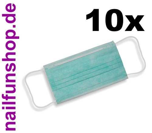 10 Stück PREMIUM Mundschutz Gesichtsmasken, Pastell-Grün, 3-lagig