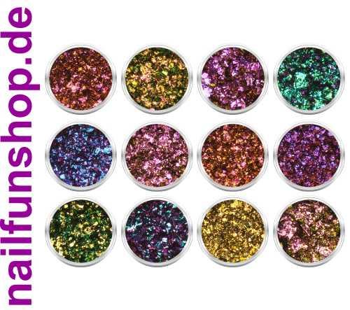12 Döschen Magic Colorful Chrome Flakes