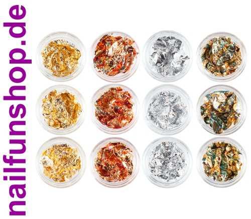 12 Döschen Nailart Metallfolie Mix - hauchdünn -  silber gold kupfer irisierend